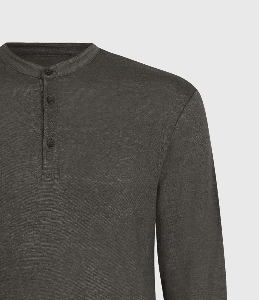 Mens Avery Linen Henley (sidewalk_grey) - Image 4