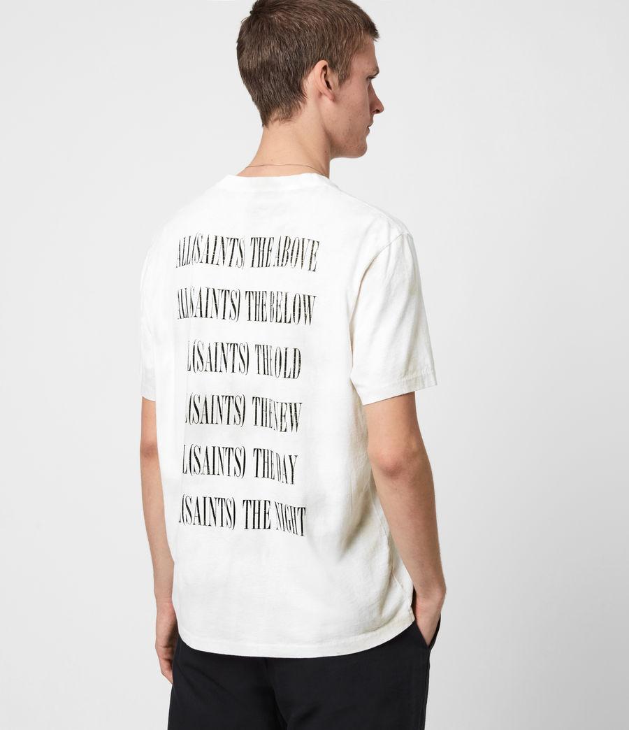 Herren Batik Stamp Crew T-Shirt (white_stone_grey) - Image 1