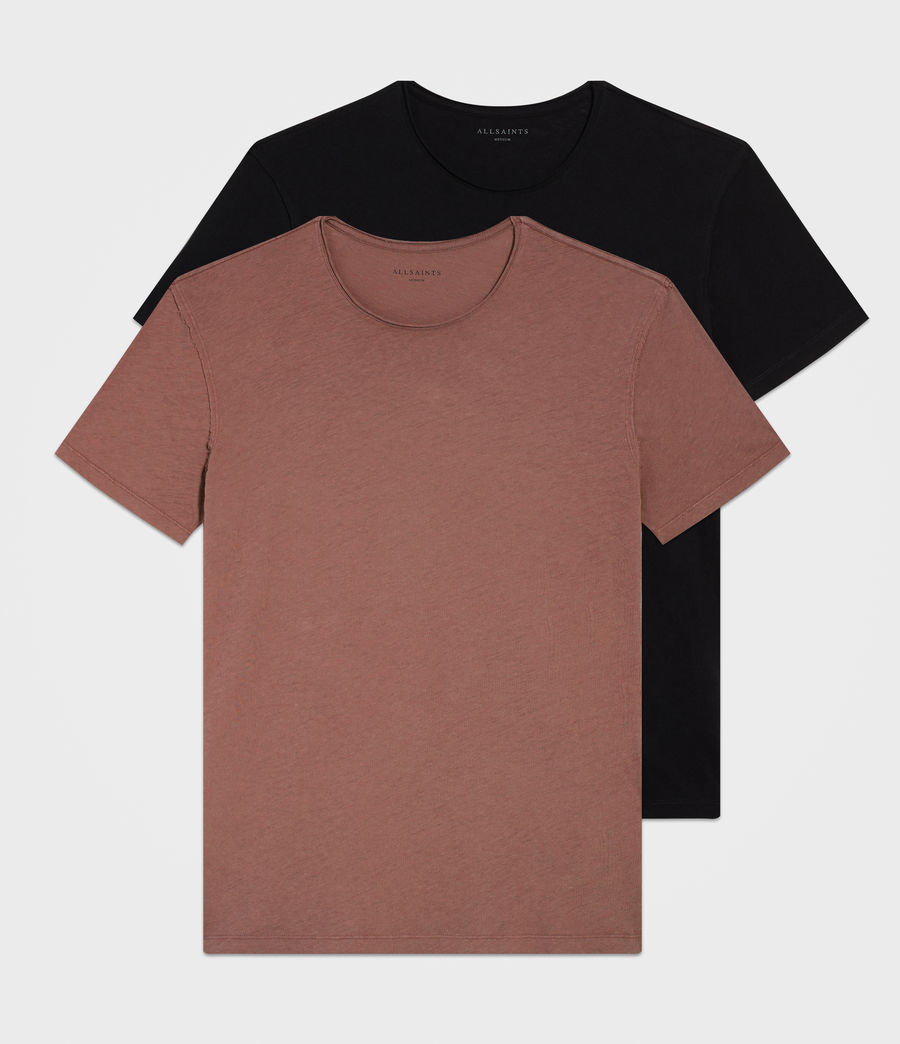 Mens Figure Crew T-Shirt Two Pack (jetblack_cedar_red) - Image 1