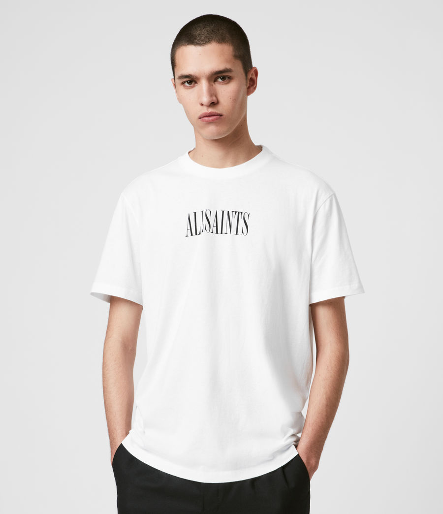 Uomo T-shirt Stamp - In cotone con grafica AllSaints (optic_white_black) - Image 1