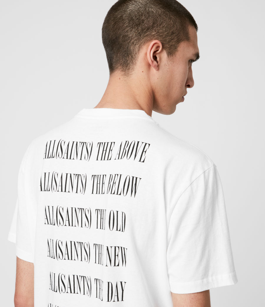 Uomo T-shirt Stamp - In cotone con grafica AllSaints (optic_white_black) - Image 2