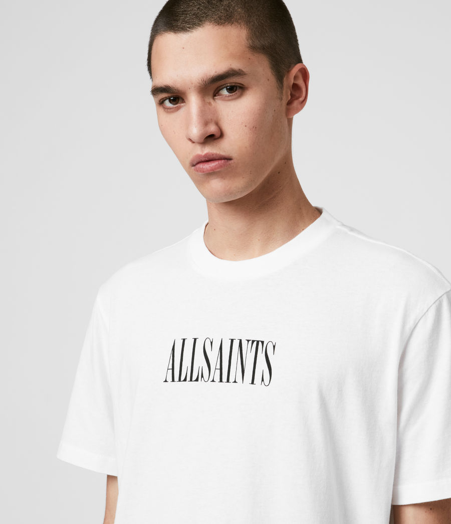 Uomo T-shirt Stamp - In cotone con grafica AllSaints (optic_white_black) - Image 4