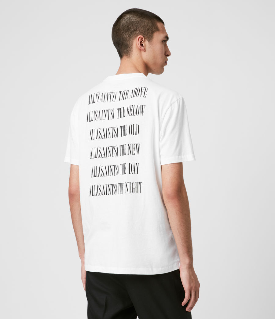 Uomo T-shirt Stamp - In cotone con grafica AllSaints (optic_white_black) - Image 5