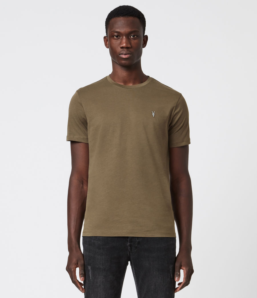 Mens Brace Contrast Crew T-Shirt (deep_olive_green) - Image 1