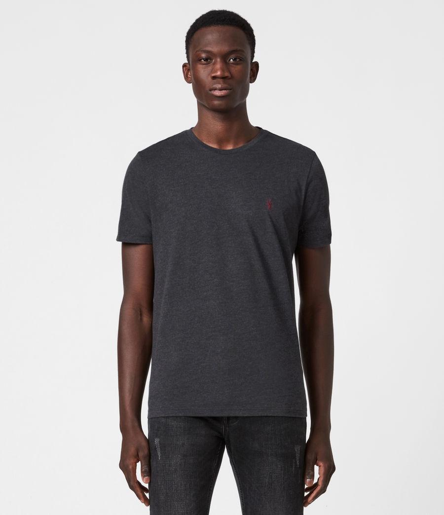 Mens Brace Contrast Crew T-Shirt (soot_black_marl) - Image 1