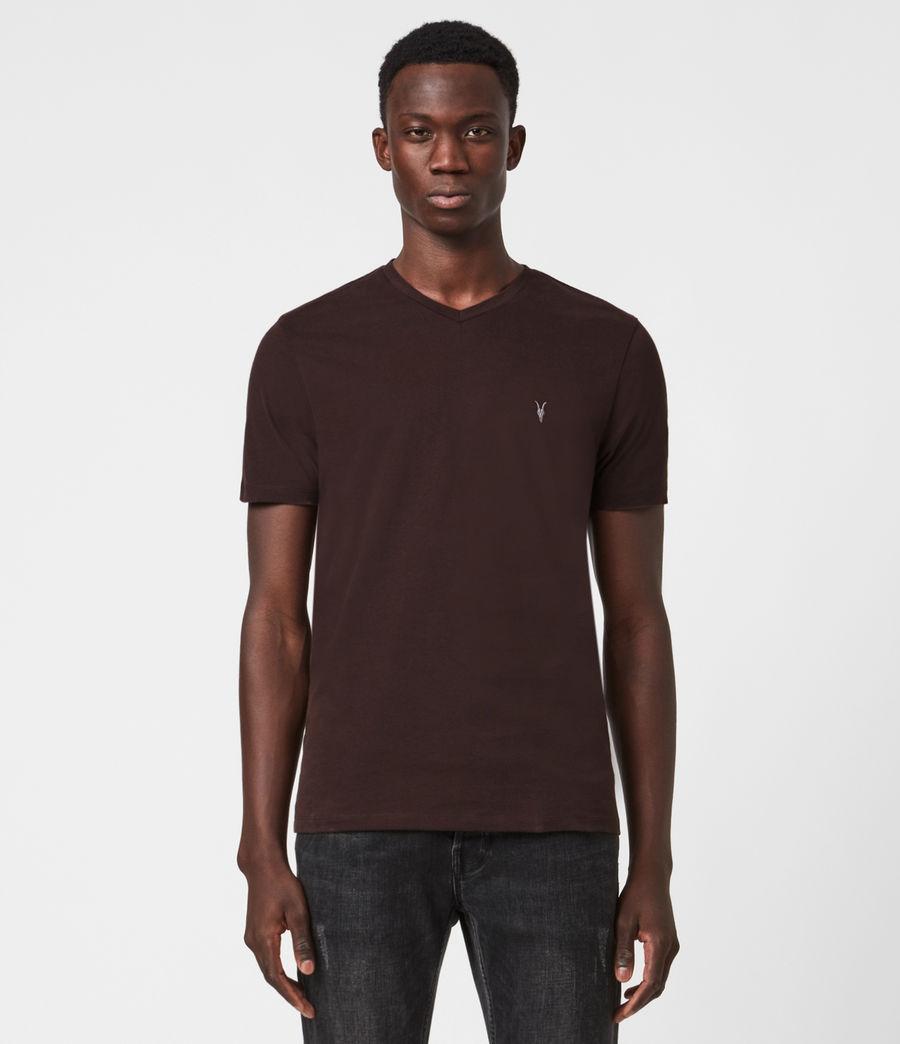 Men's Brace V-Neck T-Shirt (oxblood_red) - Image 1