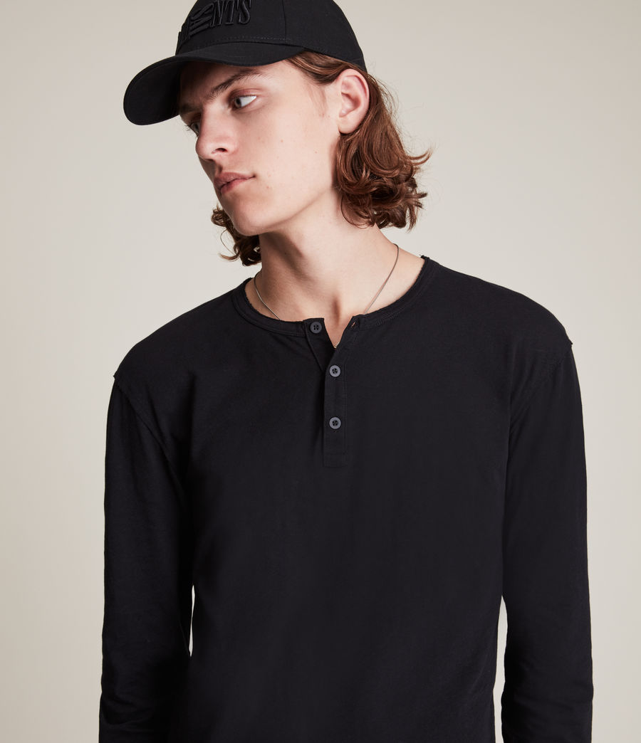 Men's Figure Long Sleeve Henley (jet_black) - Image 5