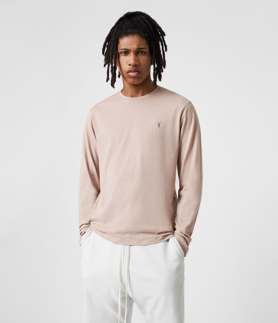 Mens Brace Long Sleeve Crew T-Shirt (balsa_stone_pink) - Image 1