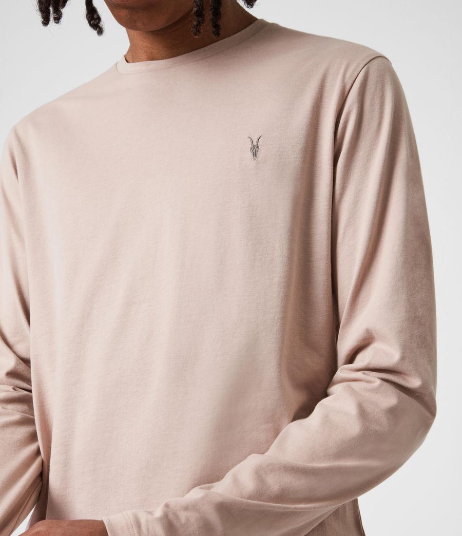 Mens Brace Long Sleeve Crew T-Shirt (balsa_stone_pink) - Image 4