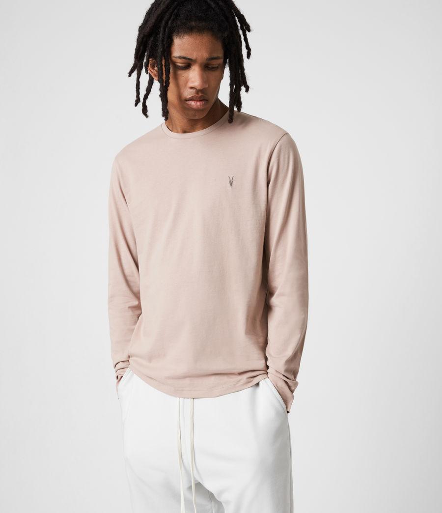 Mens Brace Long Sleeve Crew T-Shirt (balsa_stone_pink) - Image 7