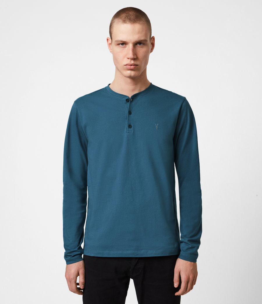 Herren Brace Henley Langarmshirt (misty_blue) - Image 1