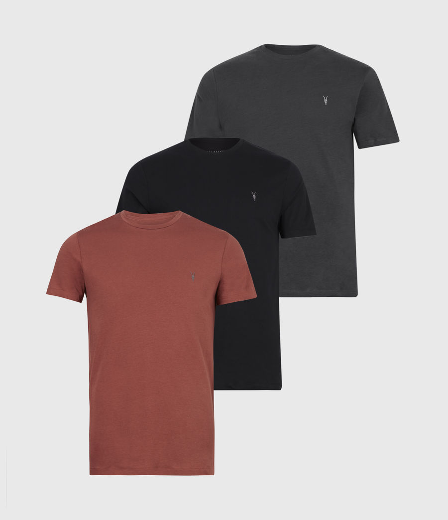 Herren Tonic Crew T-Shirt 3 Pack (jet_charcl_clay_rd) - Image 1