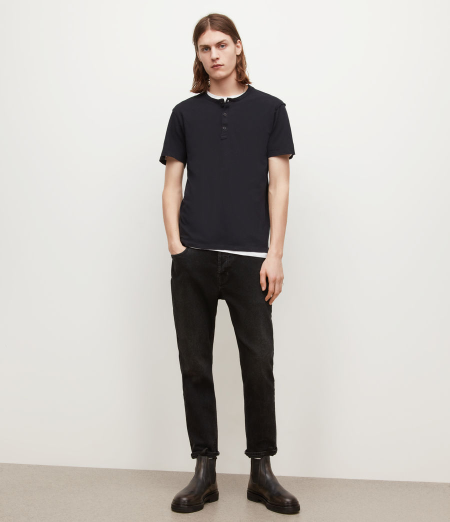 Mens Figure Henley T-Shirt (jet_black) - Image 4