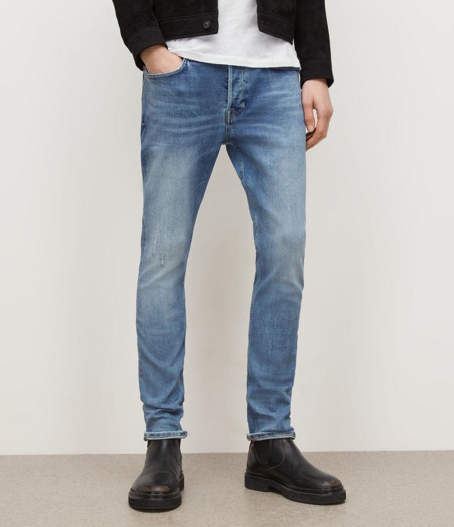 Men's Cigarette Damaged Skinny Jeans, Light Indigo (light_indigo) - Image 1