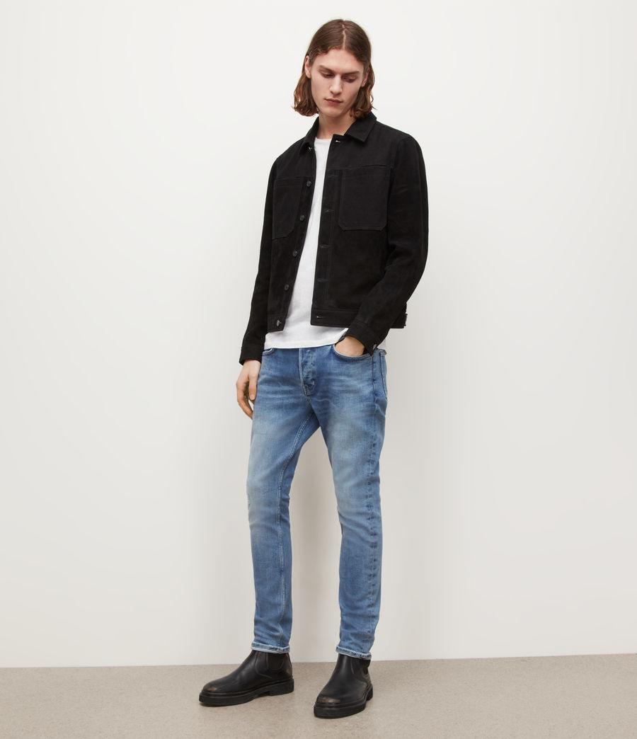 Men's Cigarette Damaged Skinny Jeans, Light Indigo (light_indigo) - Image 2