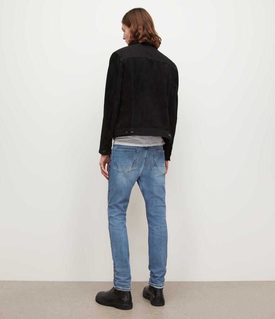 Men's Cigarette Damaged Skinny Jeans, Light Indigo (light_indigo) - Image 4