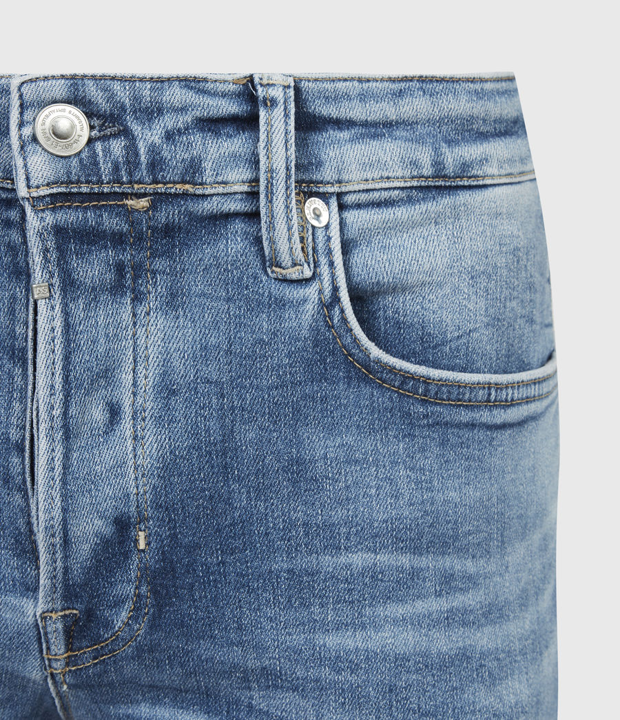 Men's Cigarette Damaged Skinny Jeans, Light Indigo (light_indigo) - Image 5