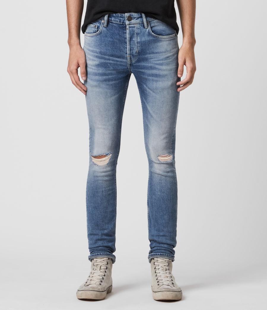 Men's Cigarette Damaged Skinny Jeans, Indigo (indigo) - Image 1