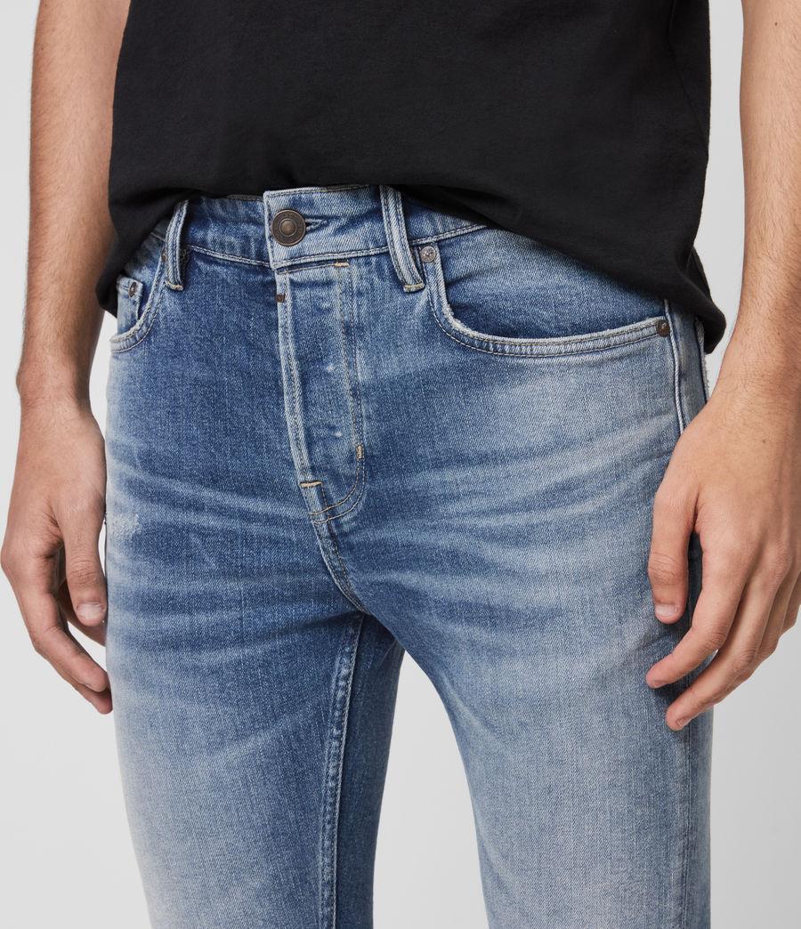 Men's Cigarette Damaged Skinny Jeans, Indigo (indigo) - Image 2