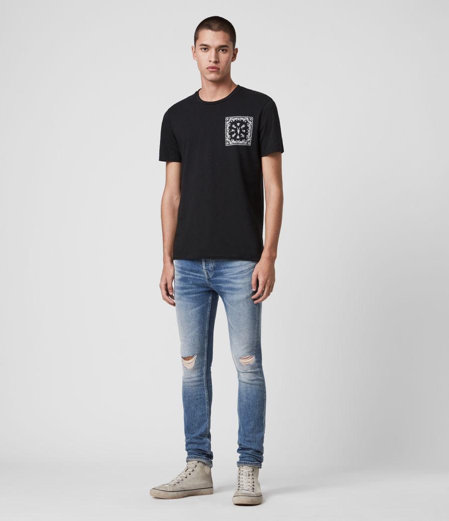 Men's Cigarette Damaged Skinny Jeans, Indigo (indigo) - Image 3