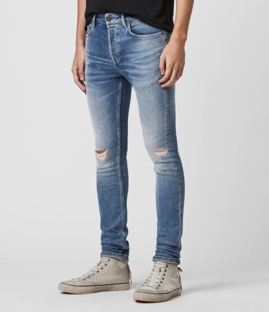 Men's Cigarette Damaged Skinny Jeans, Indigo (indigo) - Image 4