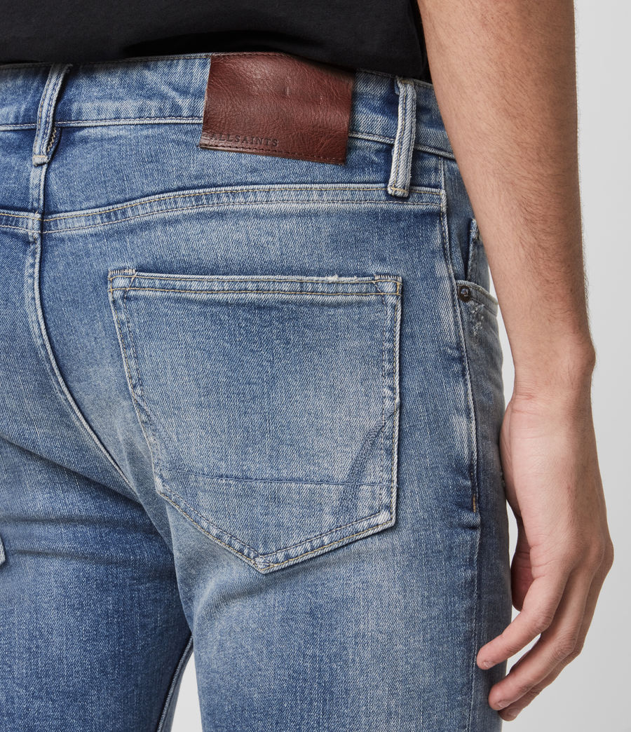 Hombres Cigarette Damaged Skinny Jeans, Indigo (indigo) - Image 1