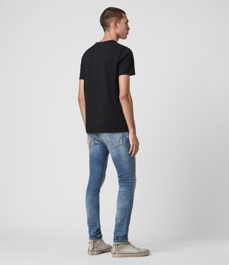 Hombres Cigarette Damaged Skinny Jeans, Indigo (indigo) - Image 2