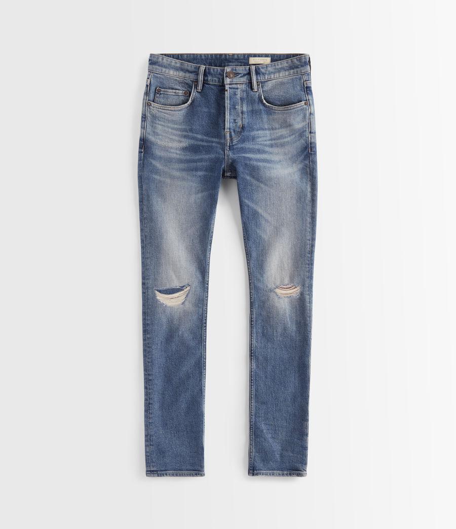 Hombres Cigarette Damaged Skinny Jeans, Indigo (indigo) - Image 3