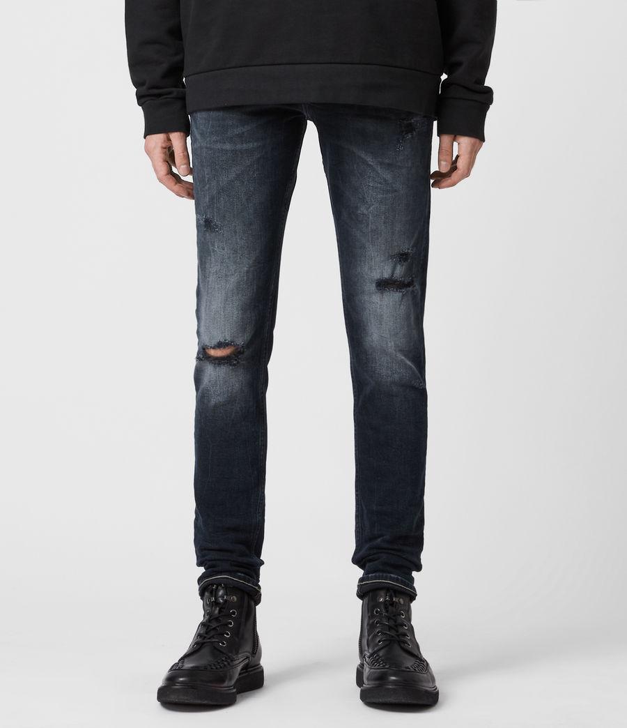 Mens Cigarette Damaged Skinny Jeans, Dark Indigo (dark_indigo) - Image 1