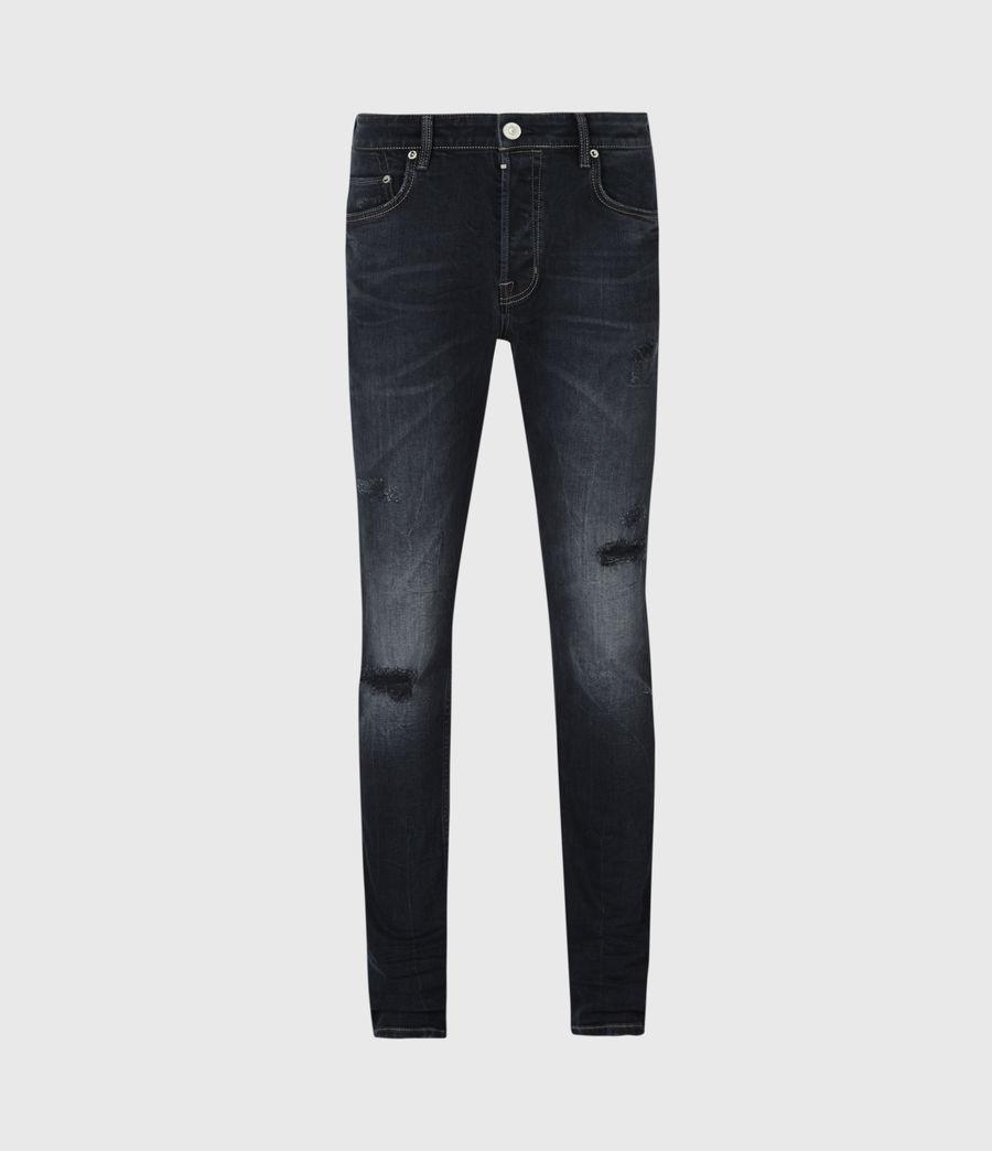Mens Cigarette Damaged Skinny Jeans, Dark Indigo (dark_indigo) - Image 2