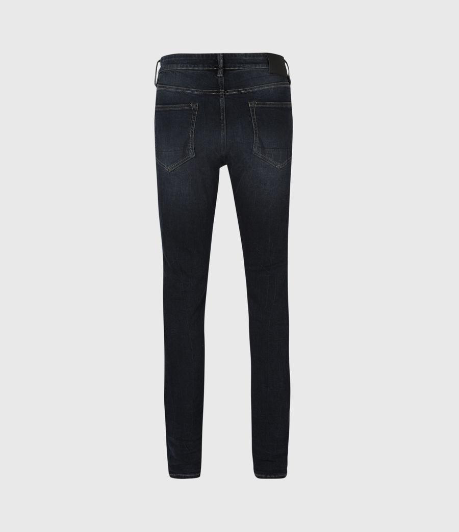 Mens Cigarette Damaged Skinny Jeans, Dark Indigo (dark_indigo) - Image 3