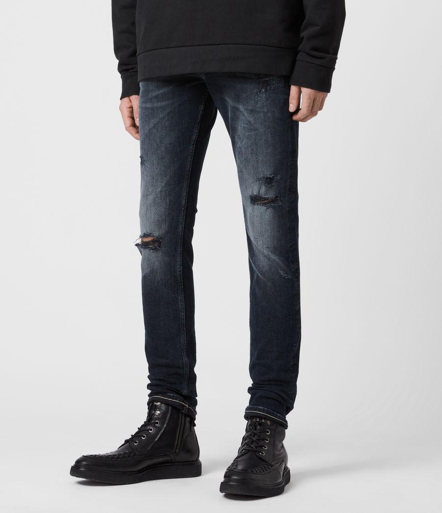 Mens Cigarette Damaged Skinny Jeans, Dark Indigo (dark_indigo) - Image 4
