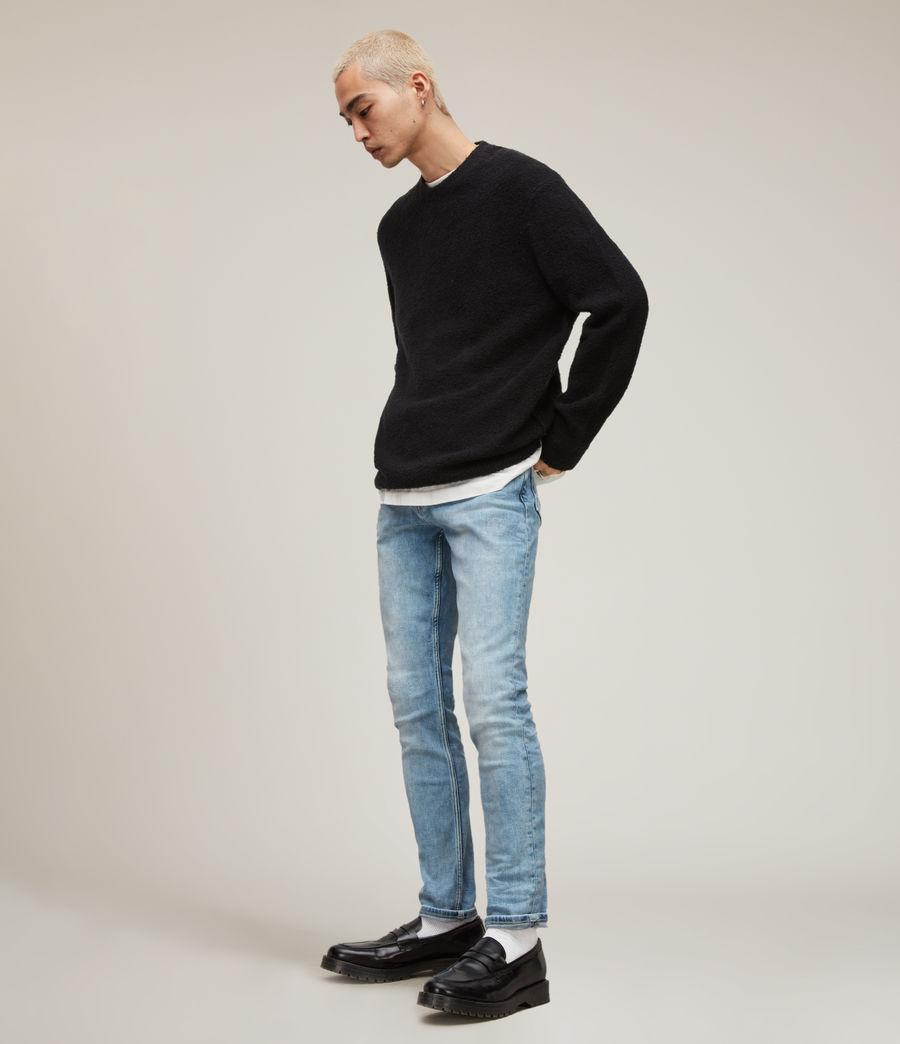 Herren Cigarette Damaged Skinny Jeans, Light Indigo (light_indigo) - Image 2
