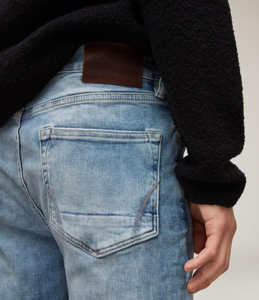 Herren Cigarette Damaged Skinny Jeans, Light Indigo (light_indigo) - Image 3