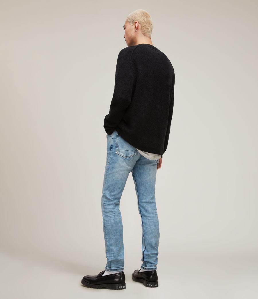 Herren Cigarette Damaged Skinny Jeans, Light Indigo (light_indigo) - Image 4