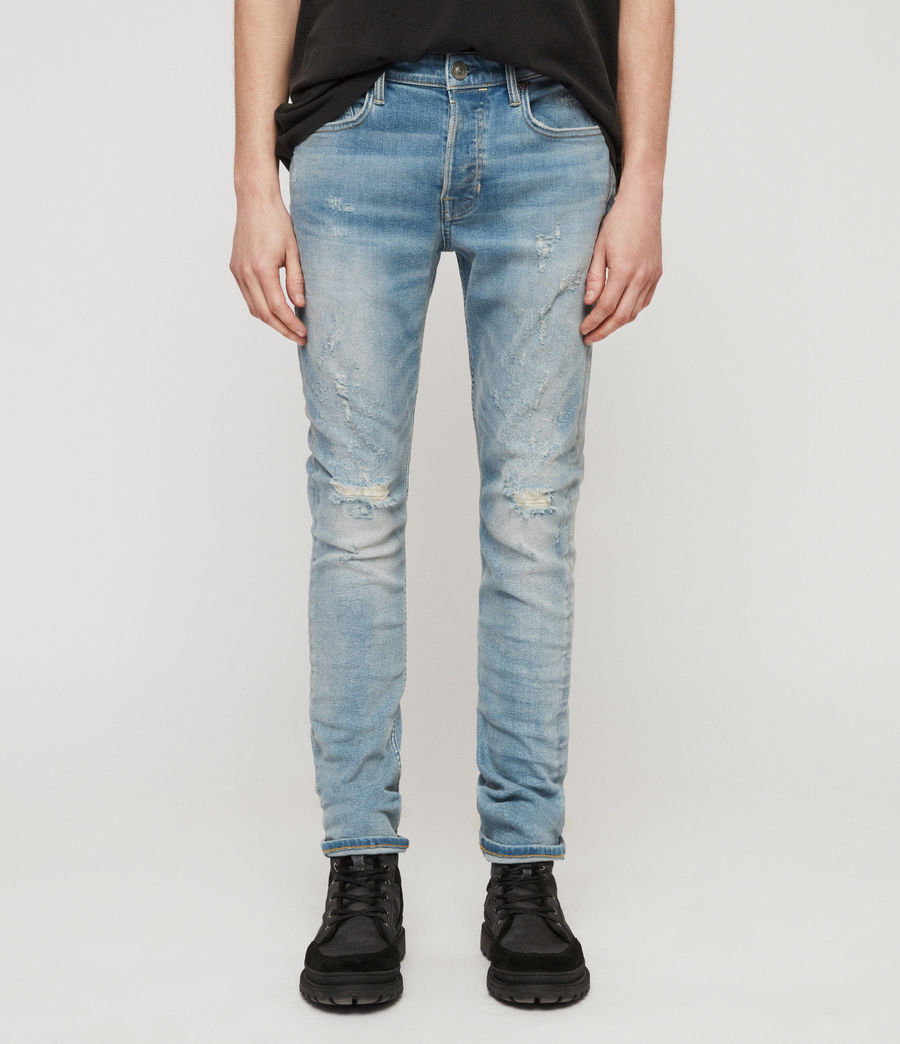 Mens Cigarette Damaged Skinny Jeans, Light Indigo Blue (light_indigo_blue) - Image 1