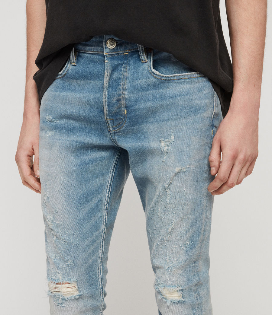 Mens Cigarette Damaged Skinny Jeans, Light Indigo Blue (light_indigo_blue) - Image 2