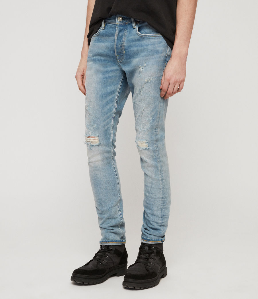 Men's Cigarette Damaged Skinny Jeans, Light Indigo Blue (light_indigo_blue) - Image 3