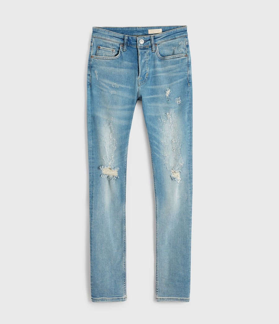 Men's Cigarette Damaged Skinny Jeans, Light Indigo Blue (light_indigo_blue) - Image 8