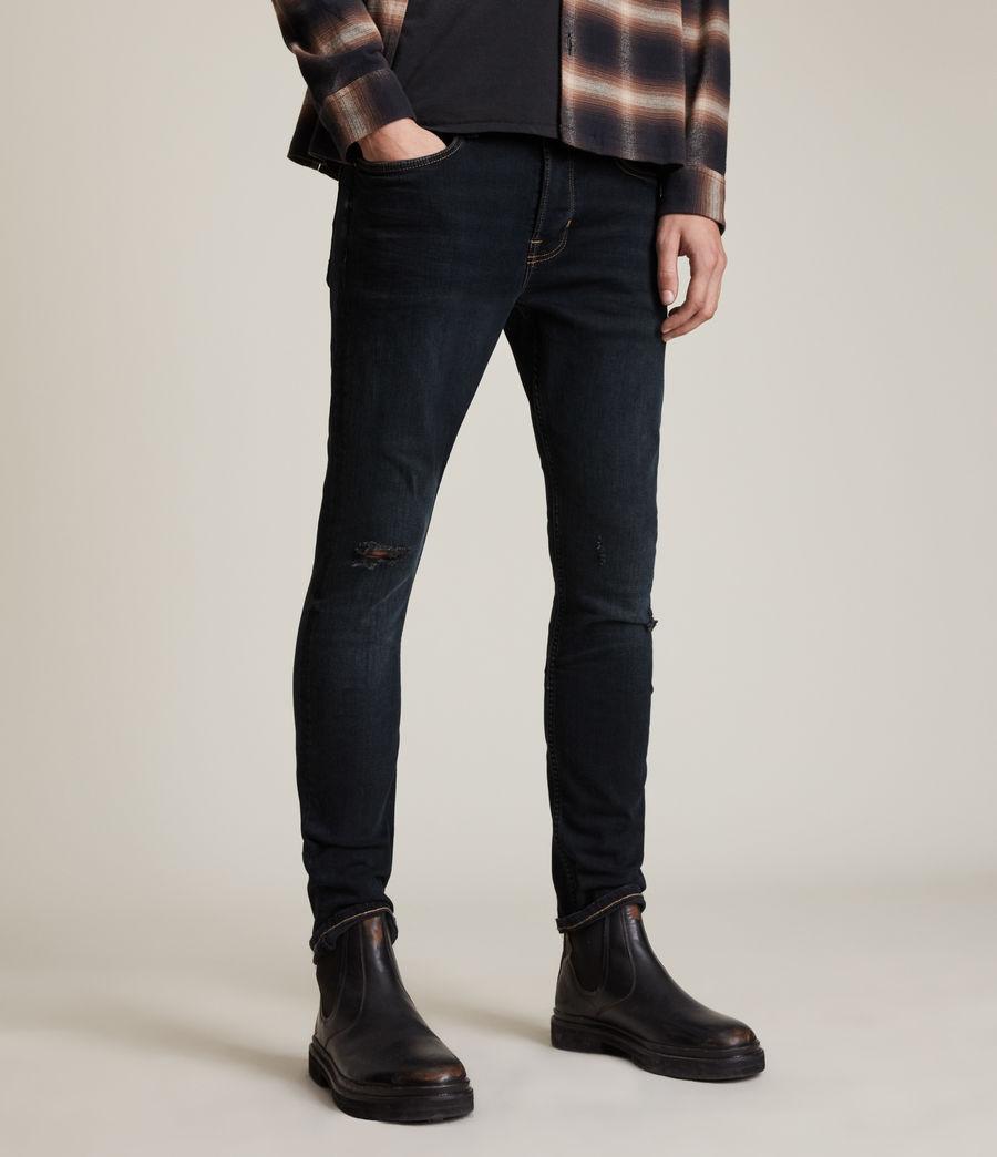 Men's Cigarette Damaged Skinny Jeans, Blue Black (blue_black) - Image 1