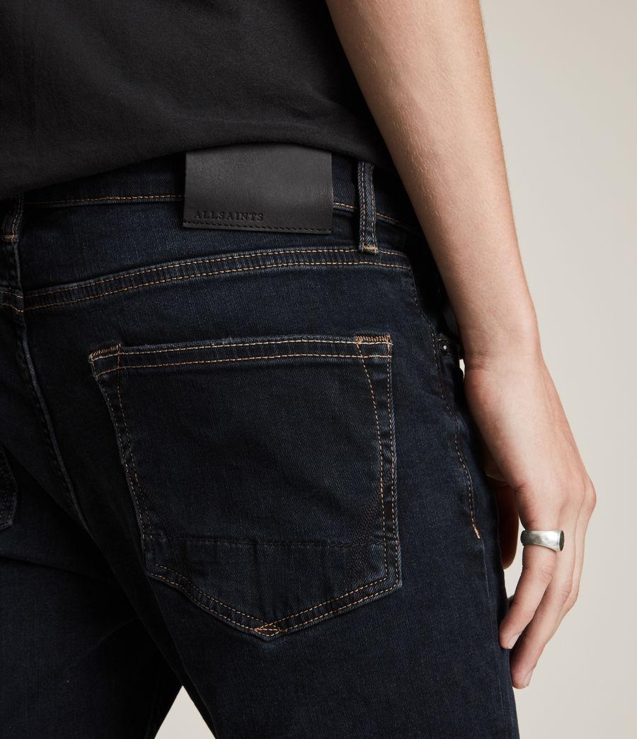 Men's Cigarette Damaged Skinny Jeans, Blue Black (blue_black) - Image 3