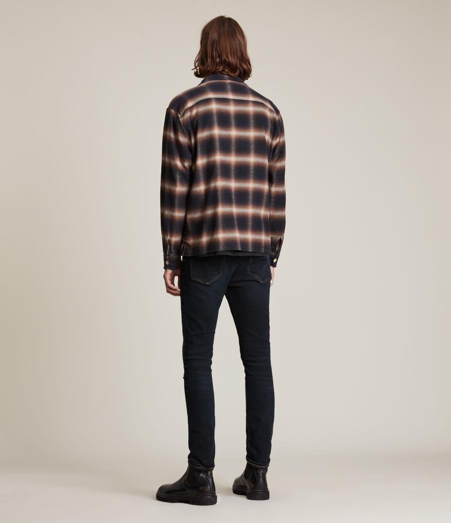 Men's Cigarette Damaged Skinny Jeans, Blue Black (blue_black) - Image 4