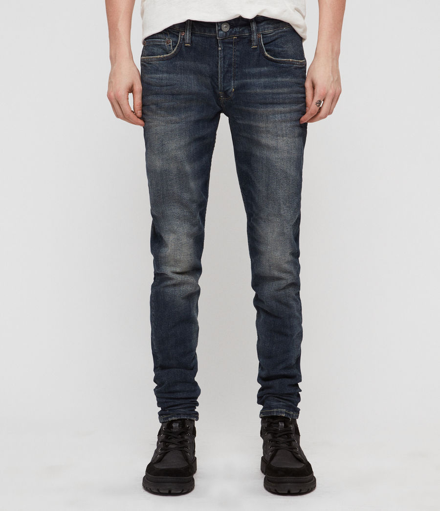 Hombres Rex Straight Skinny Jeans (mid_indigo_blue) - Image 1