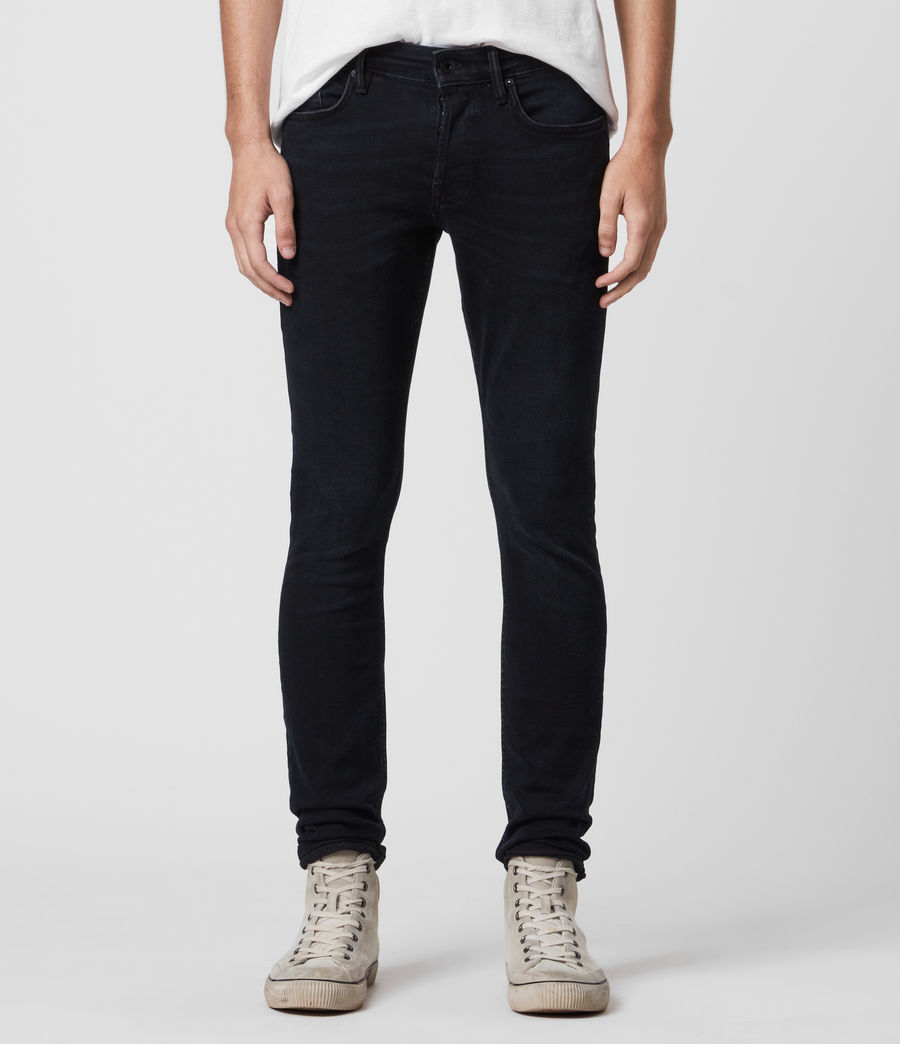 Mens Cigarette Skinny Jeans, Blue Black (blue_black) - Image 1
