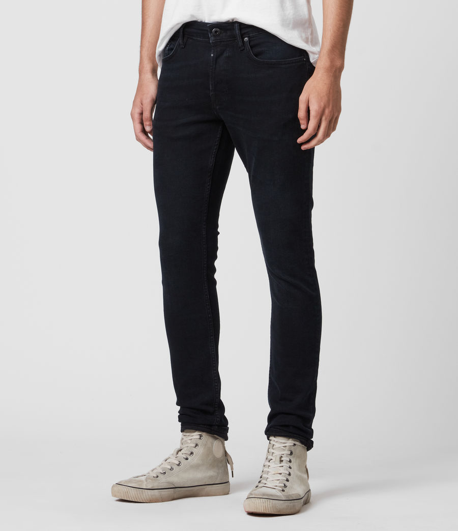 Mens Cigarette Skinny Jeans, Blue Black (blue_black) - Image 4