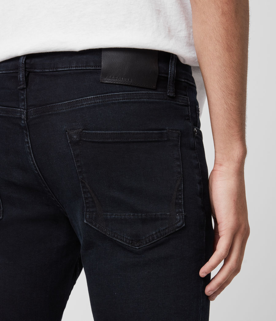 Mens Cigarette Skinny Jeans, Blue Black (blue_black) - Image 5
