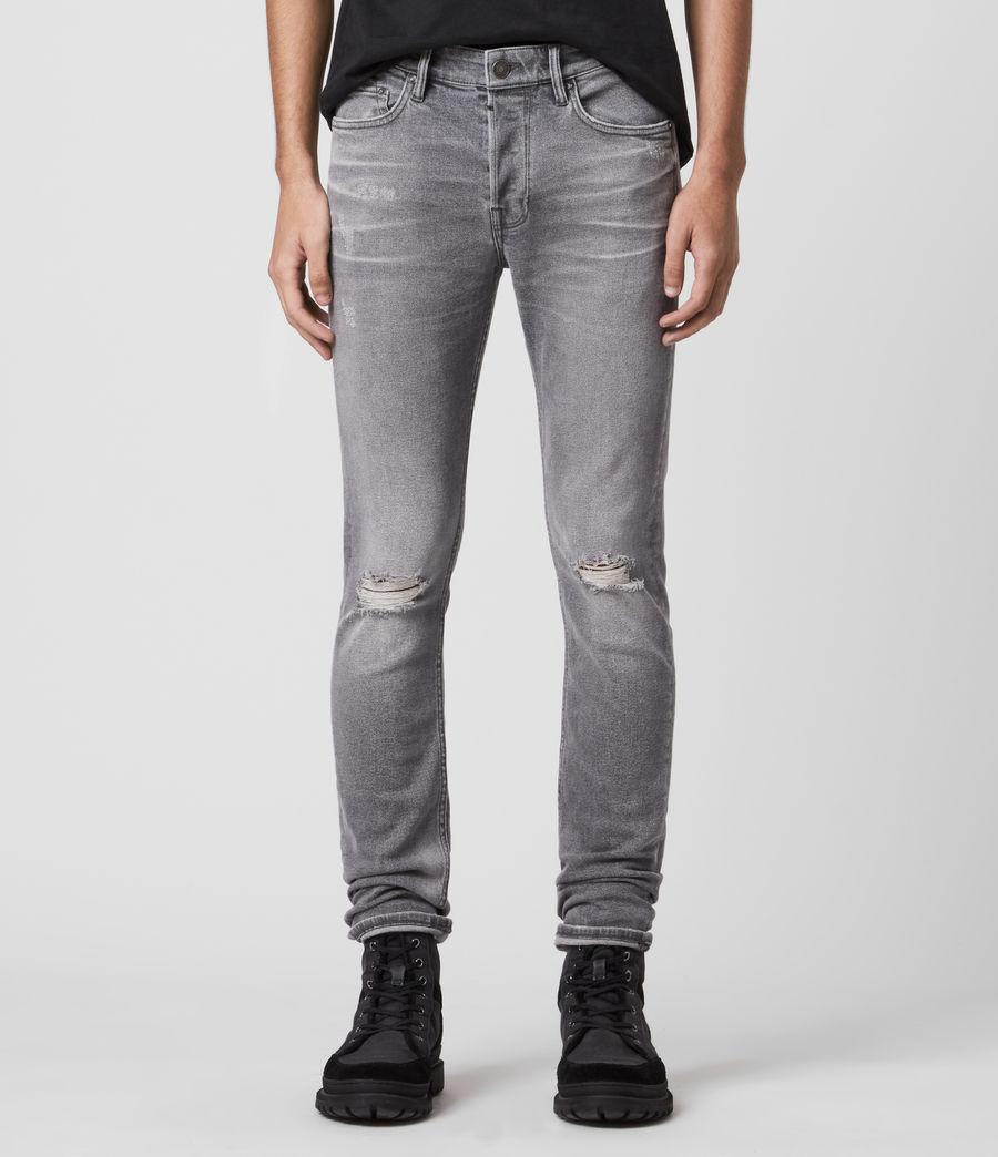 Mens Rex Damaged Slim Jeans, Grey (grey) - Image 1