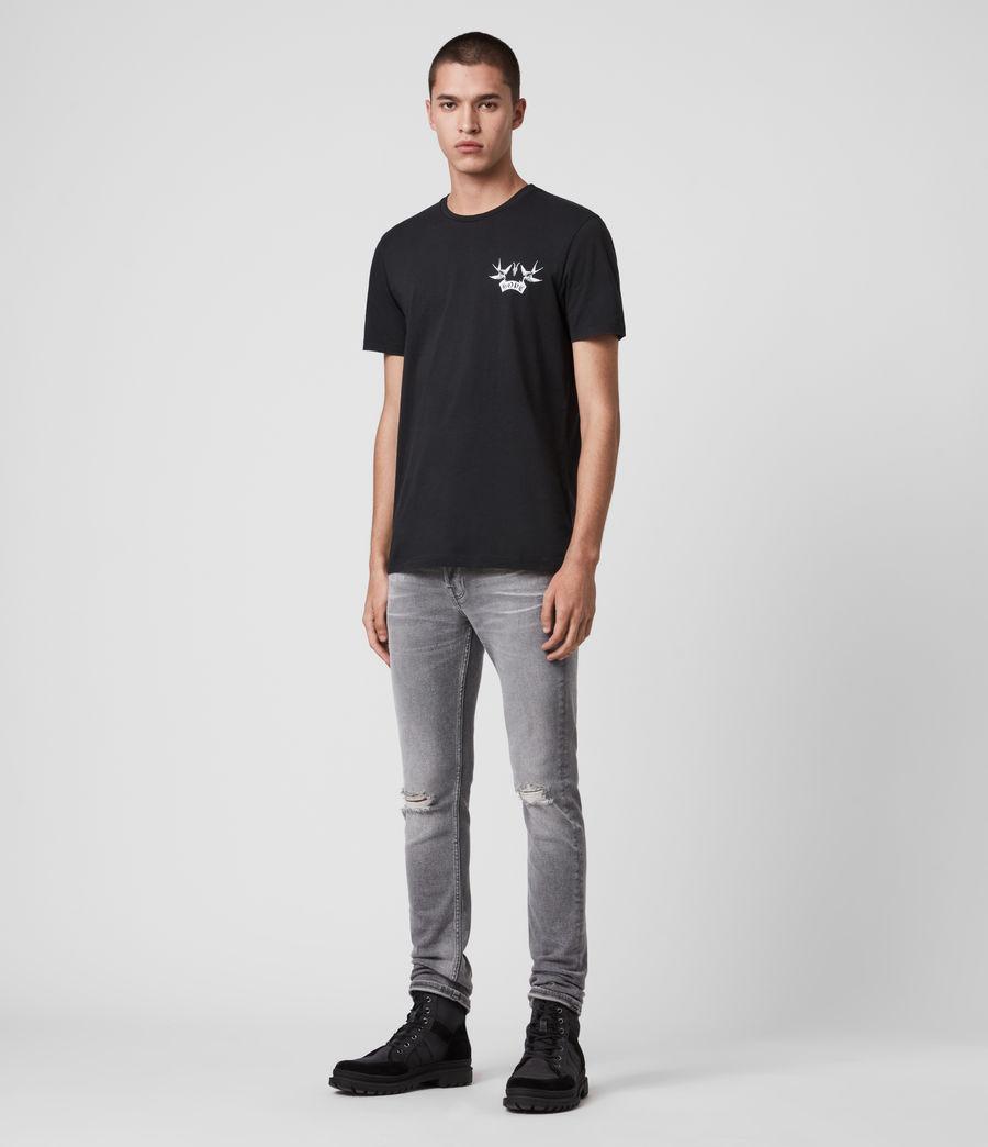 Mens Rex Damaged Slim Jeans, Grey (grey) - Image 3