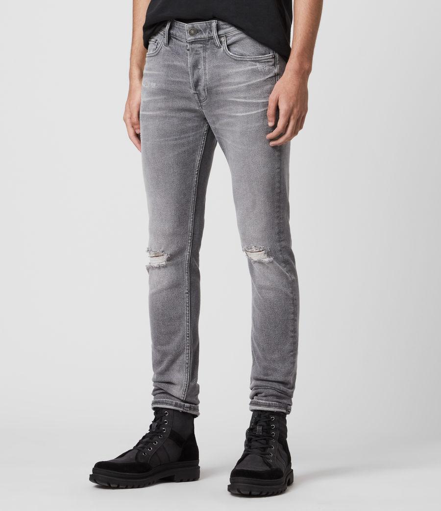 Mens Rex Damaged Slim Jeans, Grey (grey) - Image 4