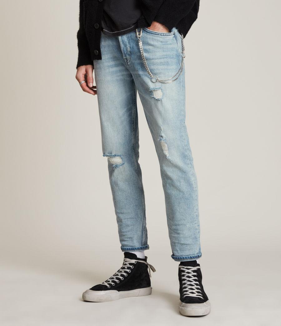 Men's Jack Damaged Straight Jeans, Light Indigo (light_indigo) - Image 1